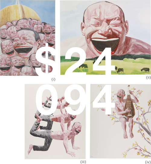 Yue Minjun, Untitled (smile-ism No.3, 8, 10, 12) (four Works)