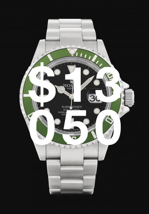 Rolex, 'kermit' Submariner, Ref 16610lv Stainless Steel Wristwatch With Date And Bracelet Circa 2007