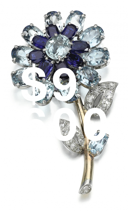 Aquamarine, Sapphire And Diamond Brooch, Cartier, 1950s, Aquamarine, Sapphire And Diamond Brooch, Cartier, 1950s