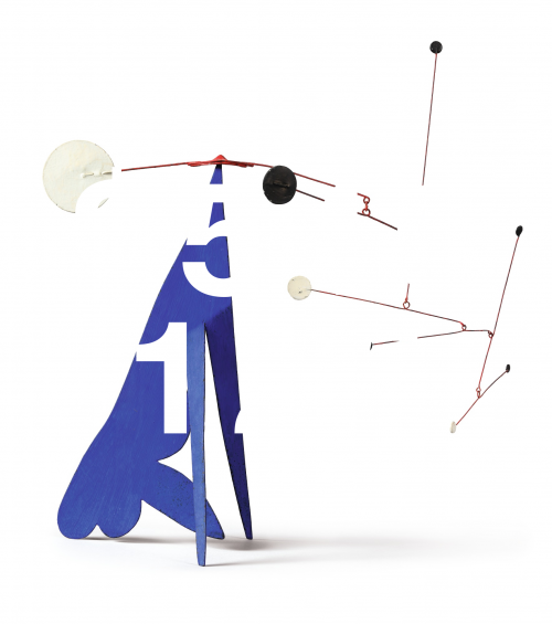 Alexander Calder, Black And White And Red On Blue