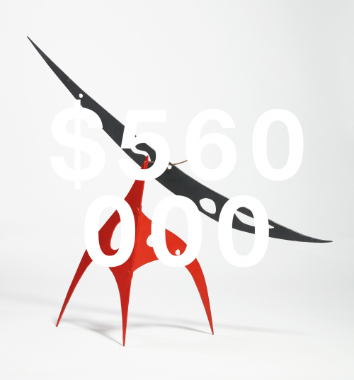 Alexander Calder, Perforated Black Boomerang On Red